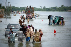 people walking through floodwaters