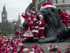 flash mob of Santas in London
