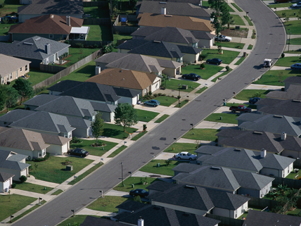 aerial view of American suburb