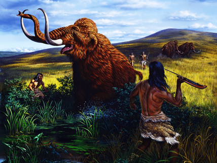 hunter-gatherer spearing mammoth