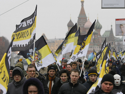 flag-waving Russian protesters