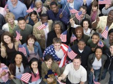 people holding American flags