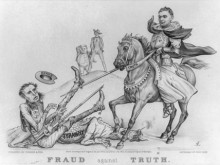 "political cartoon ""Fraud against Truth"""