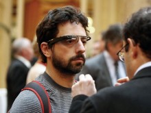 Google founder Sergey Brin with Project Glass headset