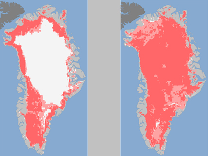 maps showing Greenland's icecap melt