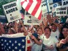 Puerto Ricans celebrating statehood referendum with American flags