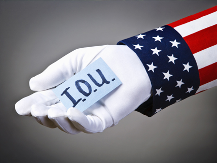 Uncle Sam's hand with I.O.U.