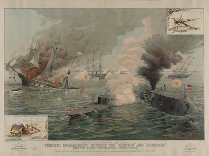 artistic rendering of Monitor vs. Merrimac ship battle