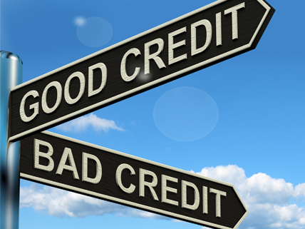 intersection of Good Credit and Bad Credit street signs