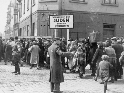 people on street of Jewish ghetto, 1940s