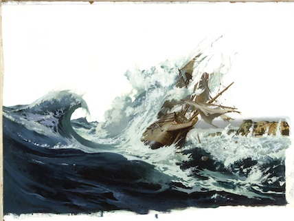 A painting depicts a Spanish galleon crashing off Saipan Island.