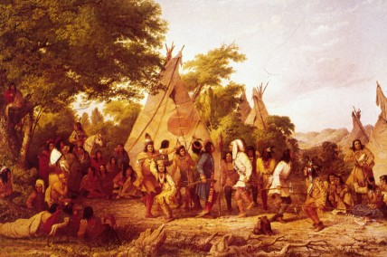 1868:  The Dakota Indians perform a traditional Dog Dance. Original Artist: By Seth Eastman (American painter, 1808-1875).  (Photo by MPI/Getty Images)