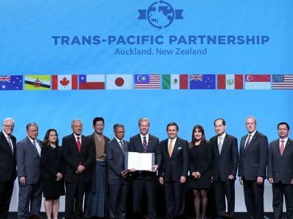 AUCKLAND, NEW ZEALAND - FEBRUARY 04: The ministers from 12 countries after the signing if the TPP at Sky City on February 4, 2016 in Auckland, New Zealand. The signing ceremony marks the end of the TPP negotiation process to create one of the world's biggest free-trade zones. (Photo by Fiona Goodall/Getty Images)