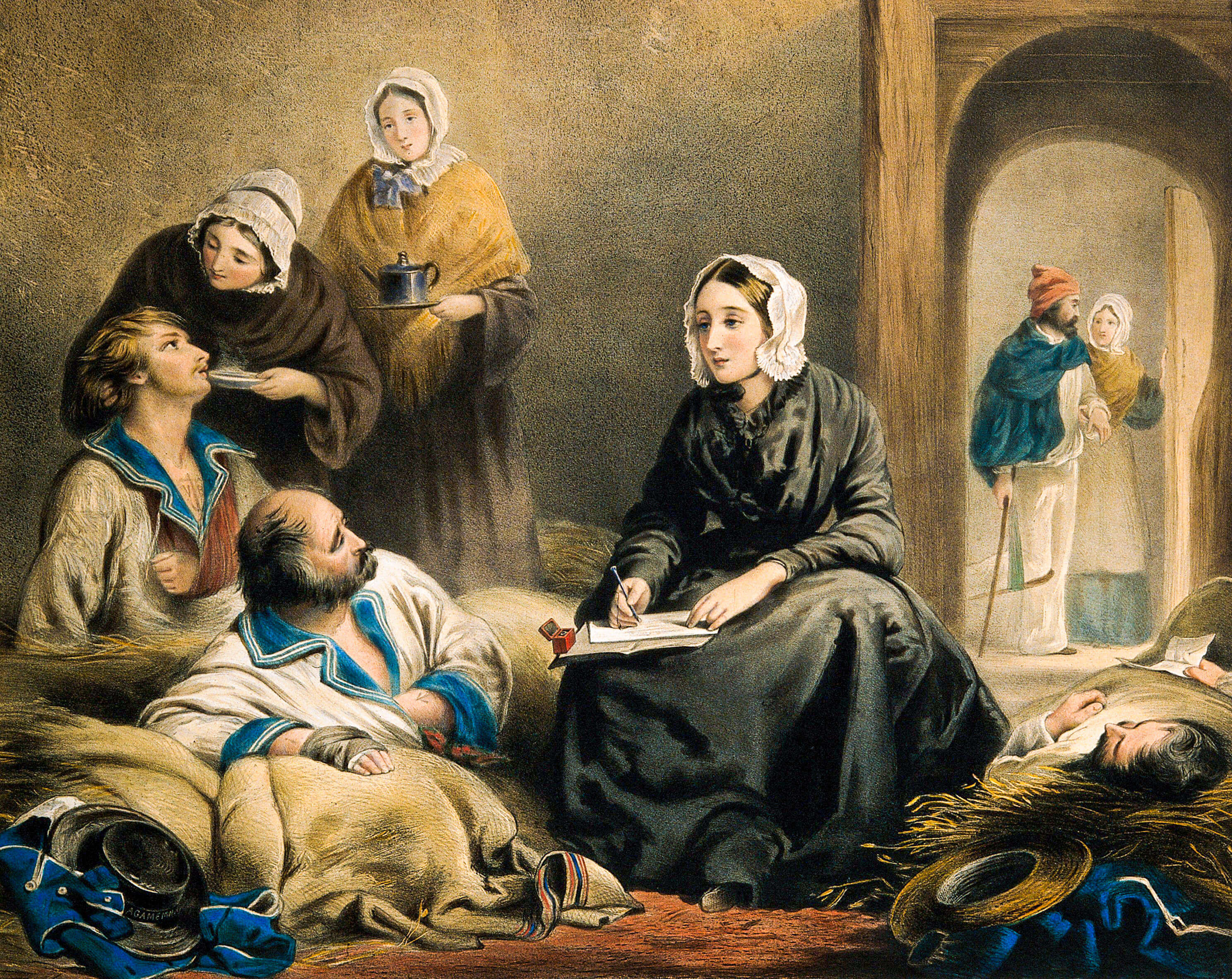 Painting shows nurse Florence Nightingale with patients in a hospital, taking notes.